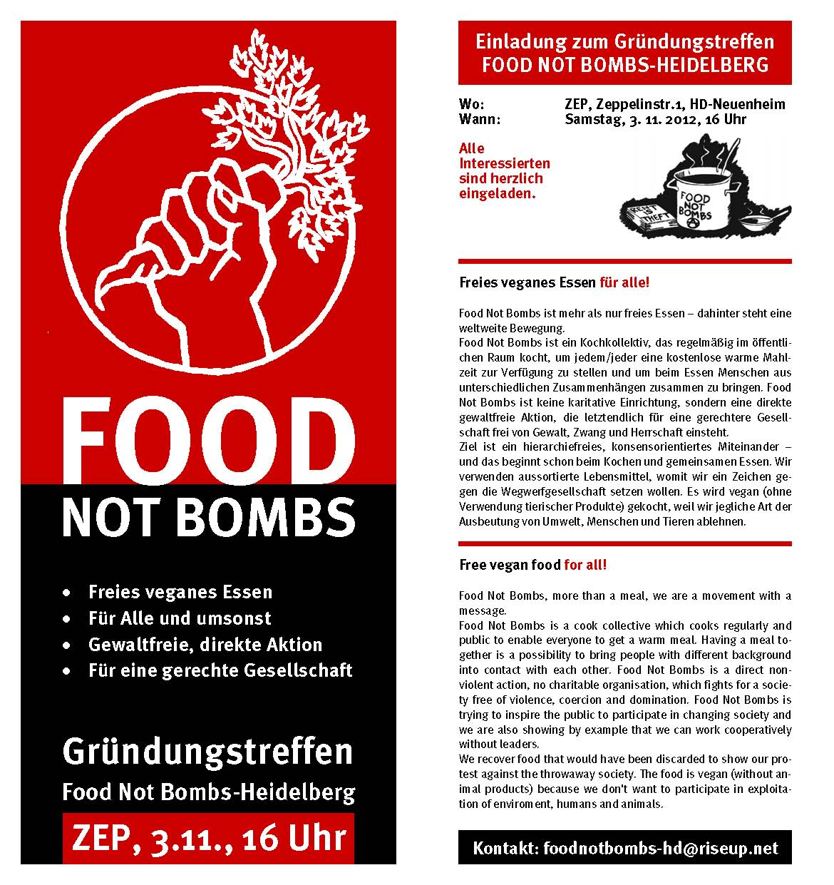 Food Not Bombs Gründungsflyer